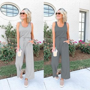 Women's Ladies Solid Color Sleeveless One-Piece Pants Summer Wide Leg Jumpsuits Girls Casual Playsuit Rompers