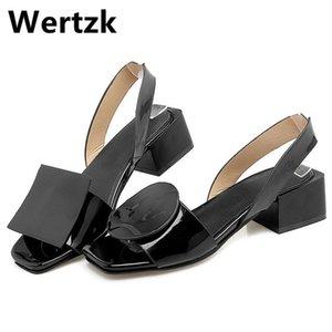 Wertzk 2019 géométrique bout carré femmes Sandales Talons été une sangle Slingbacks femmes Sandalias Mujer Femme T030 Y200702 Sandale