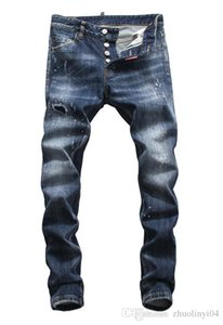 2019 European standing men's jeans, men's jeans, a pair of skinny jeans and black embroidered skulls V57