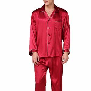 DIHOPE 2020 New Men's Stain Silk Pajama Set Men Silk Sleepwear Men Sexy Modern Style Soft Cozy Satin Nightgown Men Sets