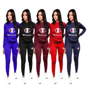 Womens Treino spotswear duas peças set roupas Jogging Sports mangas calças compridas pullover Ternos moletom Clube vestir klw0169 venda quente