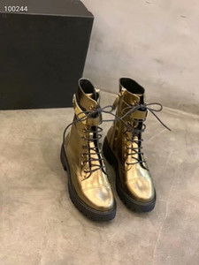 Autumn Winter Woman Round Toe Fashion Hook&Loop Knight Boots Femal Retro High Top Lace Up Flat Boots Woman Metal Buckle Pleated Flat Boots