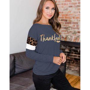 Camisetas Primavera leopardo Otoño Diseñador Tops agradecido Cartas Mujeres