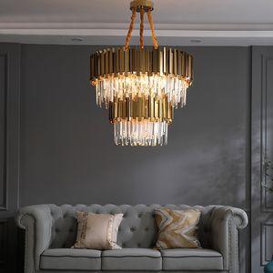 Moderne kristall lampe led kronleuchter für wohnzimmer luxus gold runde edelstahlkette doppelschicht kronleuchter beleuchtung