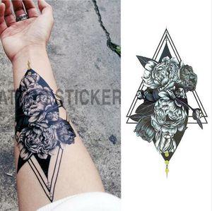 Hot 1 Pieces/set Small Full Flower Arm Temporary Waterproof Tattoo Stickers Fox Owl for Women Men Body Art