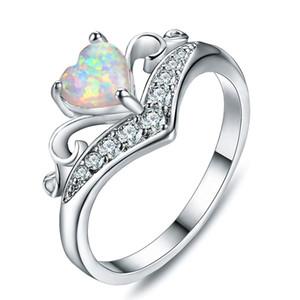 10 pc dividono 925 Anelli d'argento della Corona cuore azzurro White Opal gemme per monili delle donne Matrimoni American Party in Australia Anello