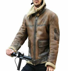 Зимняя мужская овечьей шерсти Подкладка кожаные куртки Parka Outwear пальто мужчин ретро Fur Локомотиве куртка на молнии PU кожаное пальто Теплое