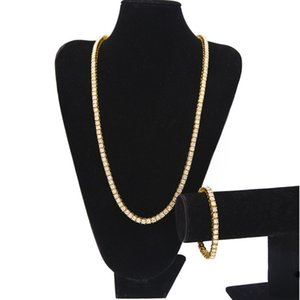 Hip Hop Bling Chains Jewelry Mens Single Row Gold Iced Out Tennis Chain Rhinestone Bracelet Necklace Jewelry Set