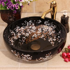 Colorful Ceramic Painting Black plum blossom China Painting wash basin Bathroom vessel sinks washbasin ceramic