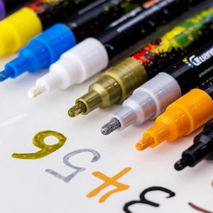 12colors / Set 0.2mm Akrilik Sanat Malzemeleri Boyama Seramik Kaya Cam Porselen Kupa Ahşap Kumaş Tuval için Marker Kalem Boya