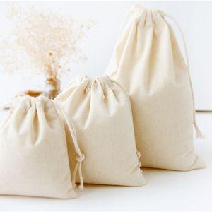 Bolsas de almacenamiento de lino de algodón de viaje DIY Bolsas de almacenamiento de artículos varios Bolsas de cuerda de haz pequeño Bolsa de regalo de dulces hechos a mano Organizador de juguetes para niños