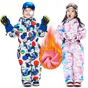 Children Winter Ski Suit Waterproof Windproof Fleece Warm Coat Overalls Kids Snowboard Jacket For Boys Girls 90-130 Jumpsuit