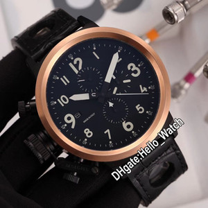Limitato a sinistra U1001 FlightDeck 50mm Miyota Quartz Chronograph Mens orologio con quadrante nero in oro rosa custodia in pelle marrone orologi Hello_Watch