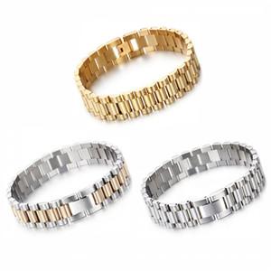Heiße Mode 15mm Luxus Herren Womens Uhr Band Armband Gold Silber Edelstahl Verstellbare Gurt Manschette Armreifen Schmuck 8.66