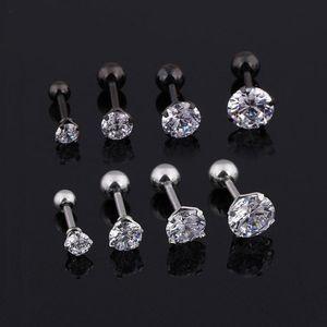 Orecchini Mens medico titanio acciaio orecchini di zircone misura 3/4/5 / 6mm Crystal Star cartilagine orecchino piercing all'orecchio Top corpo monili dell'orecchino