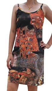 Raan Pah Muang RaanPahMuang Gustav Klimt The Kiss Collage Spaghetti Strap Dress