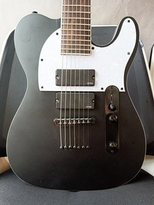 Rare sur mesure 7 cordes guitare Baryton noir mat Stephen Carpenter TL guitare électrique cordes cou Thru Pont du corps blanc perle Pickguard