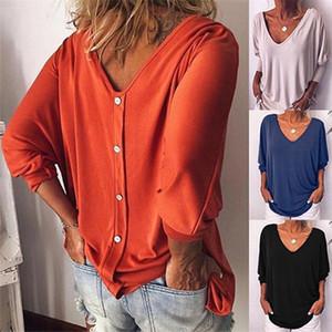 느슨한 플러스 사이즈 여성의 V 넥 목 뒤로 버튼 긴 소매 T 셔츠 최고 박쥐는 8 색 S-5XL 블라우스 소매 T 셔츠 자른