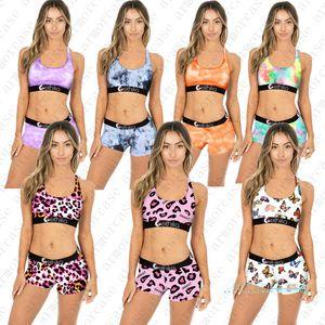 Women Designer Maillot de bain Push up Tank Vest Gilet Bra + Short Share Baignage Support de bain 2pcs Bikini Set Tie-Dye Papillon Print Maillot de bain D42805