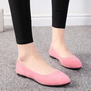Sommer Einfache weiches Mädchen süß runde Zehe-Schuhe mit flachem Boden Schul Büro-Dame-Laufwerk Auto-weißen Schuhe Faule Wohnungen