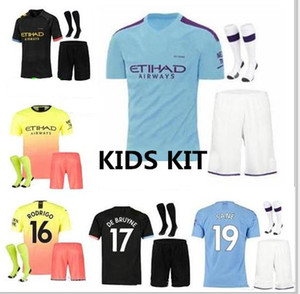 Kids kit 19 20 City KUN AGUERO CITY DE BRUYNE MAHREZ soccer Jersey 2019 2020 KOMPANY Bernardo Sane Youth Football Shirt with sock