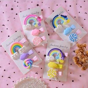 Hair Clips For Girls Kids Accessories Lollipop Headband 3PCS Set Children Girl Cartoon Cloud Bobby Pin Rainbow Cute Hairpins