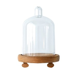 New Wood Cupcake Stand Preserved Flower Dome Wood Base with PC Dome Party Supplier for Wedding
