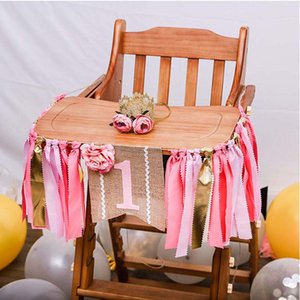 Baby First Birthday Pink Chair Banner ONE Year 1st Birthday Party Decoration Boy Girl Bunting Supplies Anniversary Decoration