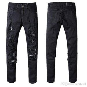 Herren Designer Hosen Motorrad Biker Jeans Rock Revival Skinny Herren Designer Jeans Coole Bettler Mottled Hole True Herren Jeans