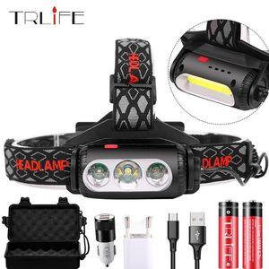 3000Lms USB Rechargeable LED Headlamp Rotatable lamp holder 8 Light Mode LED COB Super Bright Headlights Waterproof use 2*18650