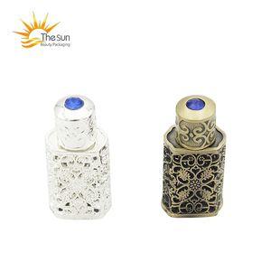 2019 venta caliente 3ml bronce árabe perfume botella Atar árabe botella de cristal envase con decoración artesanal