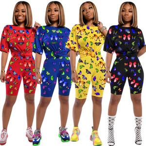 Women Designer Summer Two Piece Set Short Sleeve T-Shirt+Shorts Butterfly Sports Suit Crew Neck Outfits Fashion Jogging Suit C03