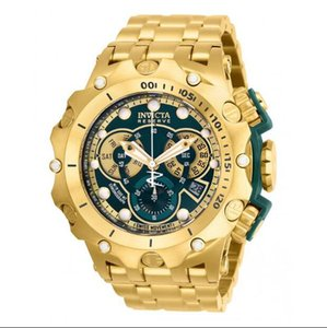 Invicta Reserve Gone Hybrid Model - 27793 مطلية بالذهب الصلب السويسري MVT Green Men's Watches Quartz