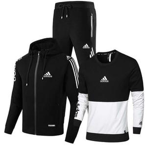 Pantolon Eşofman Erkek Kapşonlu Eşofman Set + Yeni Marka Erkek Seti İlkbahar Sonbahar Erkekler Spor 3 Adet Set SportingTrack Suits Ceket