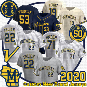 Milwaukee Christian Yelich Jersey Josh Hader 71 Jesus Aguilar 19 Robin Yount Brandon Woodruff Lorenzo Cain 2020 Season 50th Jerseys