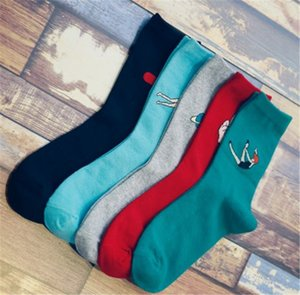 Candy color fashion happy socks Combed cotton jacquard socks Autumn winter woman high quality nid-calf socks