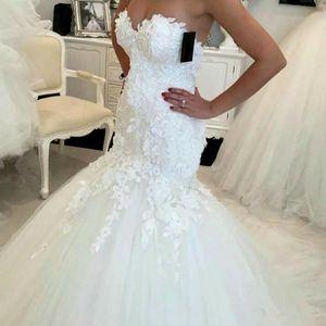 Venda quente 2017 Nova Vestidos de casamento da sereia 2019 apliques querido vestidos de noiva vestidos elegantes do casamento