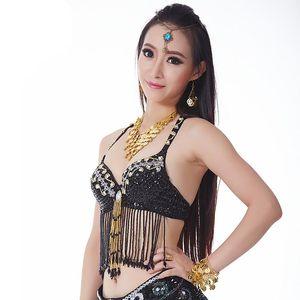 Belly Dance Fringe Halter Sujetador superior Lentejuelas con cuentas Mujeres Niñas Disfraz Festival Dancing Outfit Bra Belly Dancing Bra 9 colores caliente