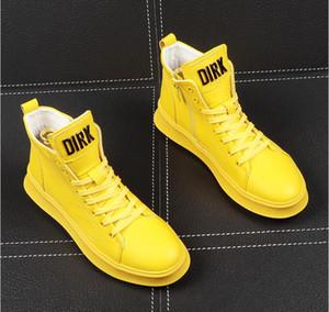 2020 del diseñador del invierno nuevos hombres blancos top del alto de los zapatos del tablero con cordones causal Pisos mocasines masculinos zapatos de skate botín para el hombre