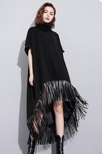 20191004 Loose-collo a maniche corte vestito da autunno frange