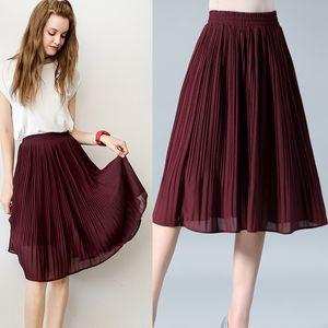 SNOW PINNACLE Women Chiffon Skirt Summer Thin Solid Pleated Skirts Womens Saias Midi Faldas Vintage Women Midi Skirt