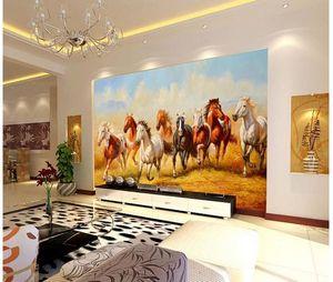 пользовательские фото обои классическая декоративная роспись восемь лошадей стены фон