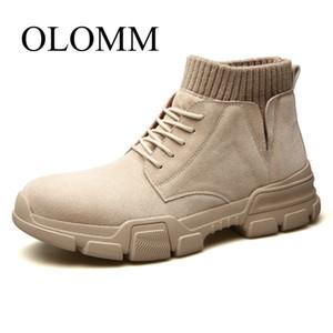 OLOMM botas de los hombres 2019 otoño nueva tendencia de la versión coreana de zapatos de las altas botas de herramientas calcetines hombres DD-103
