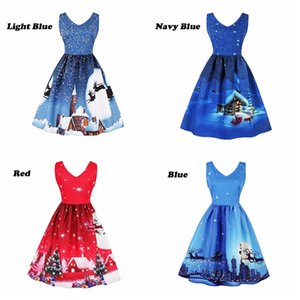 Dame Christmas Dress Weihnachten Eve Tree Snow Elk Printed Party Kleider Sommer Prinzessin Elegant V-Ausschnitt Kleider Vintage Female Kleid LJJA3058