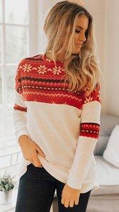Женская O-образным вырезом с длинным рукавом Christmas Theme печати Повседневный T-Shirt Clubbing партия вершины Vestidos Размер: S M L XL XXL DLM252598