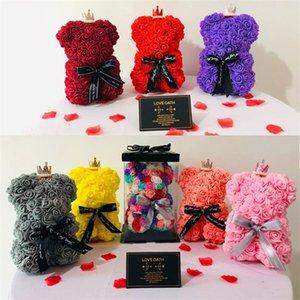 25cm 로즈 곰 발렌타인 데이 선물 PE 로즈 곰 장난감 낭만 테디 베어 인형 귀여운 장식 꽃 현재 모비 아기 5PCS T1I1811