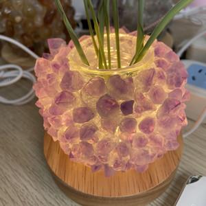 Natürliche Kristalllampe Amethyst Topaz Quarzkristallcluster Ananas Lampe Meditation Spiritual Reiki für Hauptdekoration