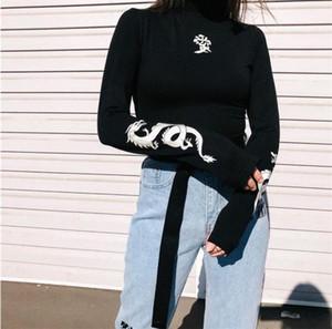 Impressão Outono Mulheres Amor do dragão T-shirts reflexiva Moda gola T longo da luva Magro Harajuku camisas Feminino Noite Top Vestuário