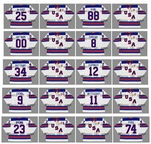 2010 2014 2016 Vintage Team USA Maglie 25 CHARLIE McAVOY 12 ALEX DeBRINCAT 9 JACK EICHEL 11 CASEY MITTELSTADT 23 DUSTIN BROWN Hockey personalizzato