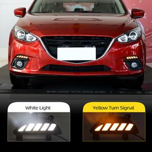 LED escurecimento 2pcs carro dinâmico e Turn estilo Luz Signal 12V LED DRL luzes diurnas para Mazda 3 Axela 2014 2015 2016